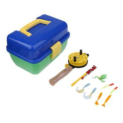 Mini Ice Fishing Lures Set Plastic Beginner Children Rod and Reel Combo Blue