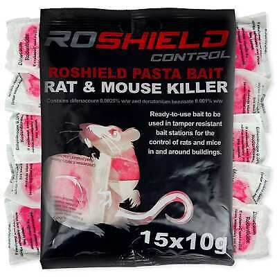 Roshield 60 Rodent Pasta Killer Poison Sachet Bait Blocks Mice Mouse Rat Control
