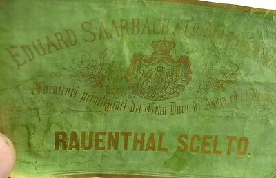 1870's-80's Rauenthal Scelto. Eduard Saarbach, German Wine Bottle Label F92