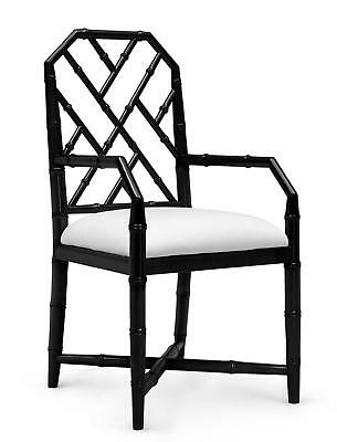 Bungalow 5 Jardin Traditional Black Lacquered Mahogany Armchair Set of 2