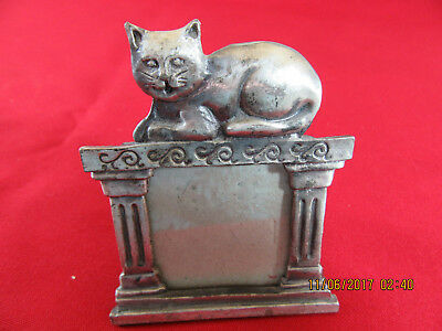 112.  Small Metal Picture Photo Frame with Sitting Cat on Top -  2 x 2 Photo