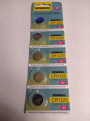 5 Pack CR1220 3v Coin Cell Lithium Batteries 35mAh Exp 2024