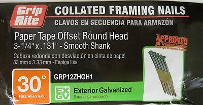 Offset Round Head 30° Framing Nail Paper Tape 3-1/4 .131 Galvanized Smooth Shank