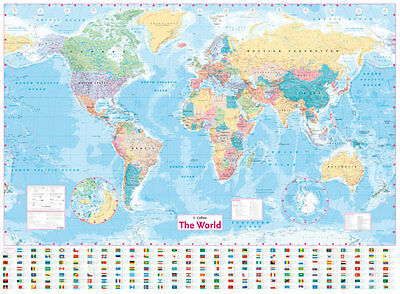Large Laminated World Map Poster With Country Flags