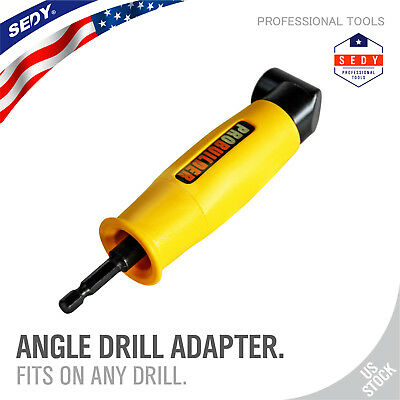 Right Angle Drill Adapter Tight Spaces Corded Cordless Drills Attachment 1/4 H-Q