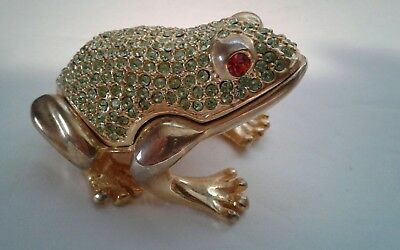 "FROG - Metal Pill / Trinket / Jewelry  Box  Holder ""HINGED FROG "" 2"" with stones"