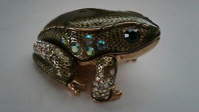 "FROG - Metal Pill / Trinket / Jewelry  Box  Holder "" HINGED FROG "" 2 1/2"""