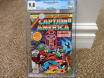 Captain America Annual 4 cgc 9.8 Jack Kirby Magneto cover WHITE pages MINT 1977