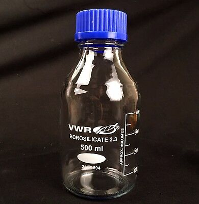 500ml Graduated Glass Reagent Bottle GL45 Screwcap Laboratory borosilicate
