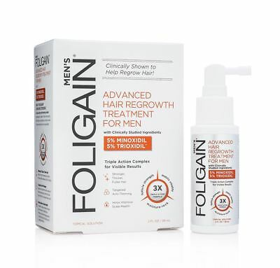 Foligain Advanced Hair Regrowth Treatment For Men 5% Minoxidil 5% Trioxidil 2 Oz