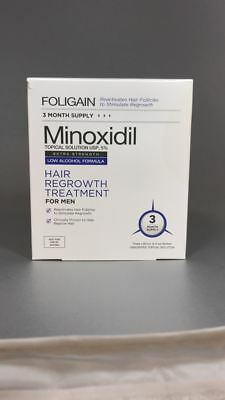 Foligain Minoxidil Topical 5% Hair Regrowth Treatment Men 3 Month Low Alcohol