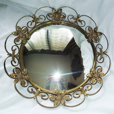 Antique WALL MIRROR Wrought Brass Metal Frame Applied Flowers Curved Mirror 19""
