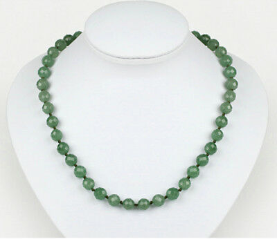 Treasurebay FAB 10mm Faceted Aventurine Gemstone with Magnetic Clasp Necklace