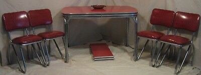 1950s Formica Chrome Dining Set Red Cracked Ice Excellent Condition!!
