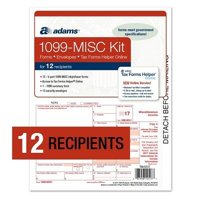Adams® 1099-MISC Forms Kit for 12 Recipients w/Tax Forms Helper® Online (2017)