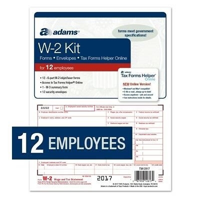 Adams® W-2 Tax Forms Kit for 12 Employees w/Adams Tax Forms Helper Online (2017)