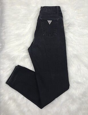VINTAGE 80's ICONIC GUESS USA BLACK DENIM JEANS High Waist Junior Women 26X33