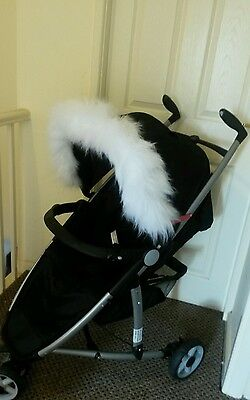 Pram Pushchair White faux fur Hood Trim, fits any hood, icandy joie ickle bubba.