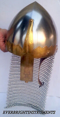 New Viking Deluxe Chain Mail Helmet Medieval Reproduction Helmet with Liner