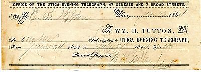 1864 Utica Evening Telegraph Receipt For Payment Of Subscription Wm H Tutton Ny