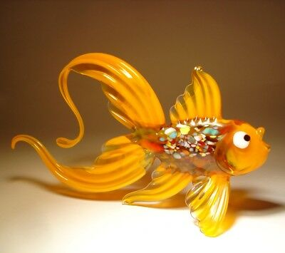 "Blown Glass ""Murano"" Art Figurine Orange FISH with an Arched Tail"