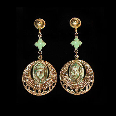 ~VINTAGE 30's ART DECO EGYPTIAN REVIVAL PHARAOH FIGURAL MASK EARRINGS!~~