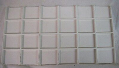 Jewelry Display Fixtures NEW 24 COMPARTMENT TRAY LINER INSERT WHITE LEATHERETTE