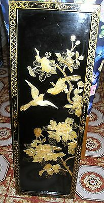 Asian Chinese Black Lacquer Mother of Pearl Inlay Oriental Art Picture Pick Up!