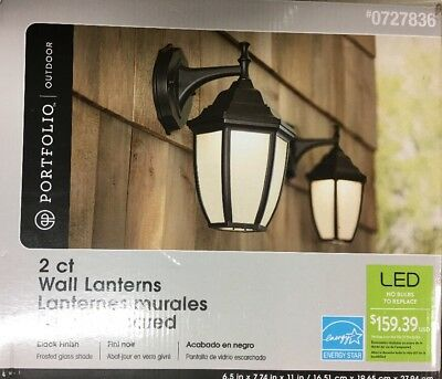 Portfolio 💼 Outdoor 2 Wall LED Lanterns Black Finish
