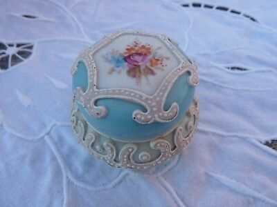 Antique Nippon Hand Painted Floral Decorated Lidded Box Heavy Moriage Porcelain