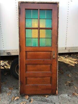 Hol 2 Antique Stainglass Entrance Door 34.5 X 82 In Frame