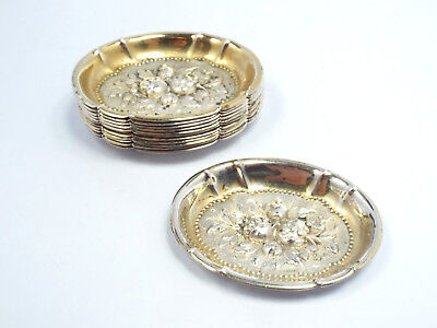 Antique Germany 800 Silver Set of 12 Repousse Floral & Fruit Design Nut Dishes