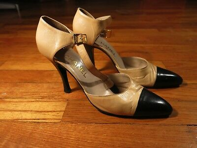 7121d95cb745 Authentic VTG Chanel Heels Mary Jane Pumps 8.5 Tan Black Leather Cap Toe  Italy