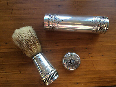 Antique -1844(London) Early-Victorian-Solid-Silver-Mens-Travelling-Shaving-Brush