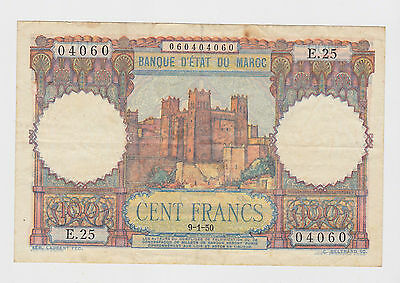Morocco - 1950, 100 Francs  !!!Palindrome - Radar Serial Number!!!