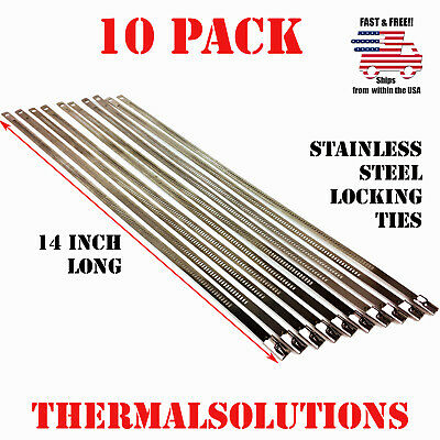 "10Pc Stainless Steel Locking 14"" Exhaust Header Cable Tie Strap Band"