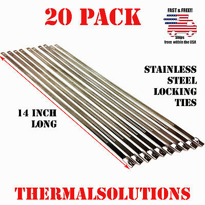 """20Pc Stainless Steel Locking 14"""" Exhaust Header Cable Tie Strap Band"""