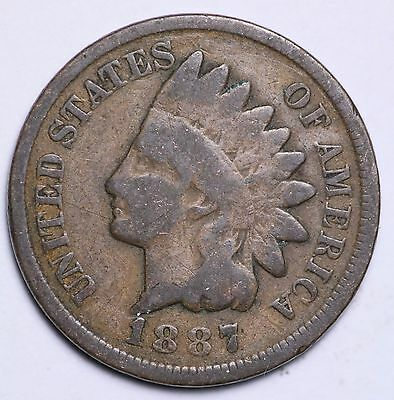 1887 Indian Head Cent Penny / Circulated Grade Good / Very Good 95% Copper Coin