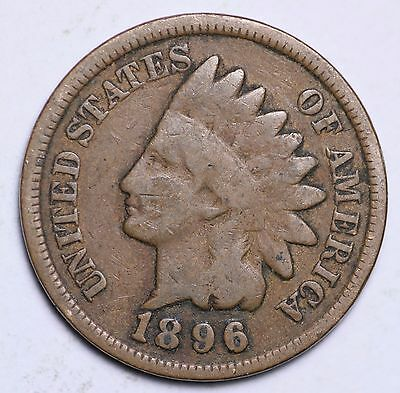 1896 Indian Head Cent Penny / Circulated Grade Good / Very Good 95% Copper Coin