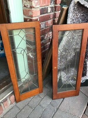 Sg 1693 Match Pair Antique Flat Glass Cabinet Doors 28 X 36