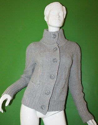 Womens American Eagle Gray Cowl Neck Textured Button Up Sweater Size Large/L