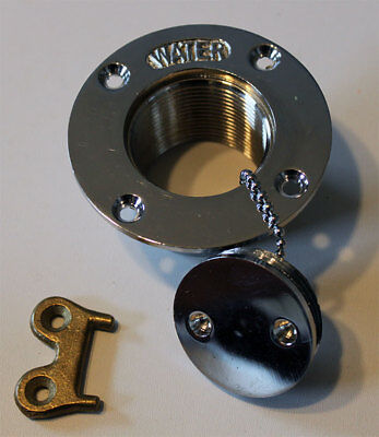 """1.5"""" Stainless Steel Boat Deck Water Tank Fill With Brass Cap Key"""