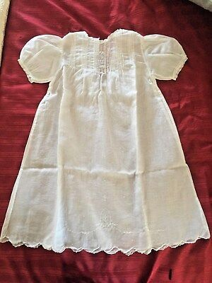 Vintage Hand Stitched Cotton Baby's Christening Gown Over 75 Years Old