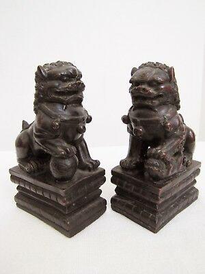 Pair of Antique Early 20th Century Chinese Foo Dog Statues