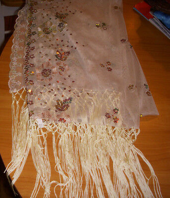 Christmas Scarf Shawl with Sequins & Fringe Beige Net Embroidery
