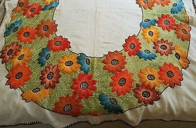 VTG Heavily Hand Embroidered Square Linen Table Cloth Crewel Flowers