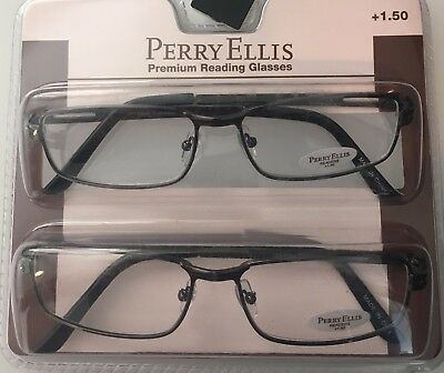28b4891fc7a Perry Ellis Mens Gunmetal Metal Rectangle 2 Pack Reading Glass 1.5 PER 01