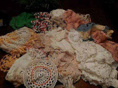 Huge lot 75 doilies Vintage Crochet assorted sizes and colors craft resale