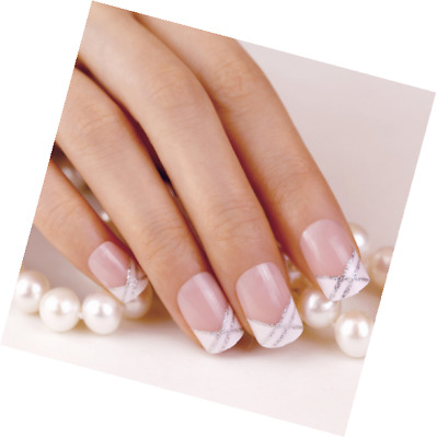 ArtPlus Faux Ongles 24pcs Crossing White Elegant Touch French Manicure False Nai