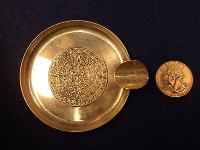 """Neat Old Vtg Mexican Sterling Silver """"aztec Sun Dial"""" Cigarette Smoking Ashtray"""